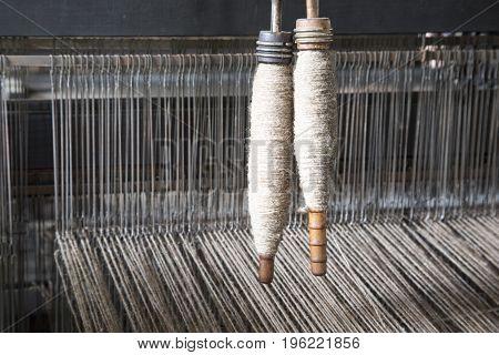 Yarn On Bobbins On Loom