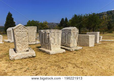Radimlja necropolis by day, Stolac, Bosnia and Hercegovina, UNESCO site