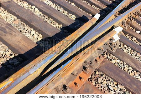 Railway . Part of the railway tracks, rails, train traffic, Industrial landscape.