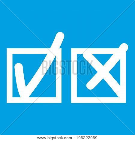 Checkmark to accept and refusal icon white isolated on blue background vector illustration
