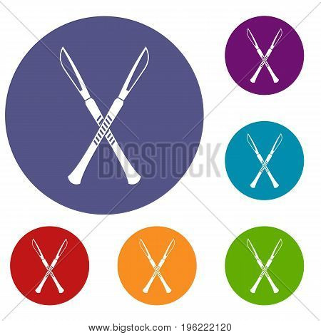 Surgeon scalpels icons set in flat circle red, blue and green color for web