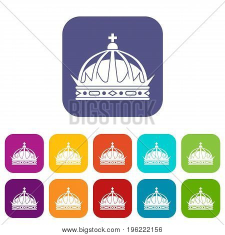 Crown icons set vector illustration in flat style in colors red, blue, green, and other