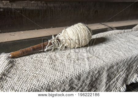 Spool Of Yarn On Textile In Mill