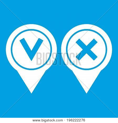 Tick affirmative and negative icon white isolated on blue background vector illustration