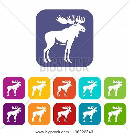 Moose icons set vector illustration in flat style in colors red, blue, green, and other