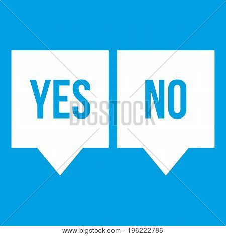 Signs of yes and no icon white isolated on blue background vector illustration