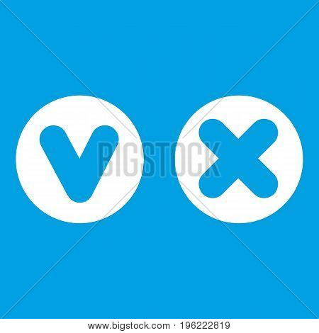 Fat tick and cross in circles icon white isolated on blue background vector illustration