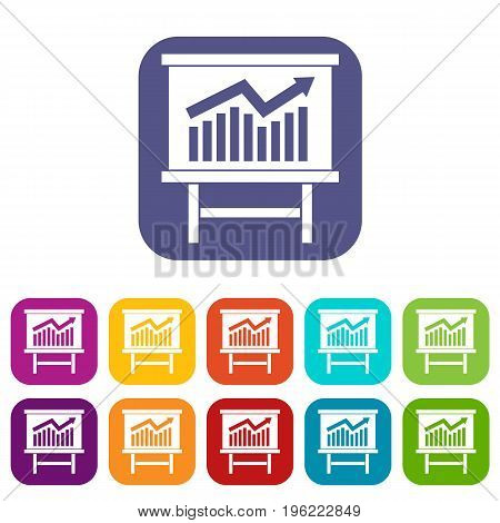 Growing chart on presentation board icons set vector illustration in flat style in colors red, blue, green, and other