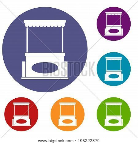 Street kiosk icons set in flat circle red, blue and green color for web