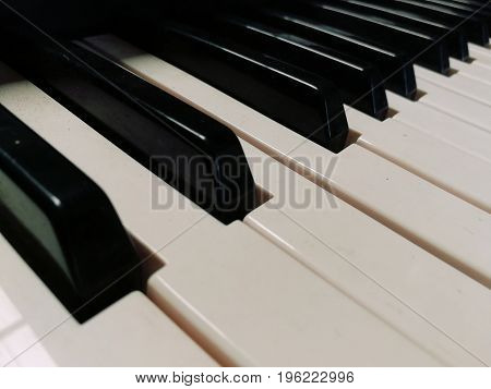 Close up picture of Piano keyboard. Use as background