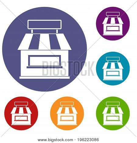 Shop building facade icons set in flat circle red, blue and green color for web