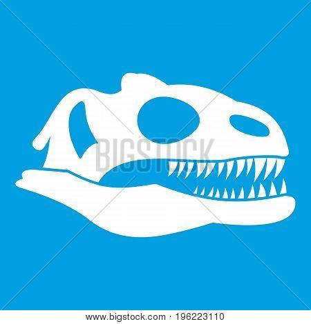 Skull of dinosaur icon white isolated on blue background vector illustration