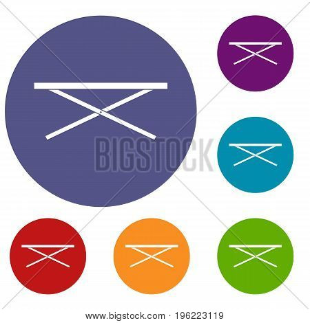Market counter icons set in flat circle red, blue and green color for web