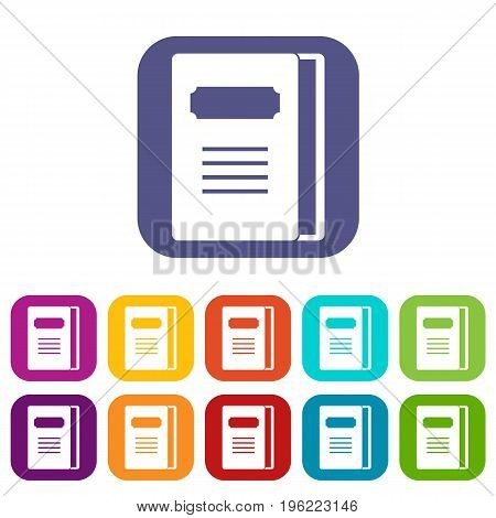 Tutorial icons set vector illustration in flat style in colors red, blue, green, and other