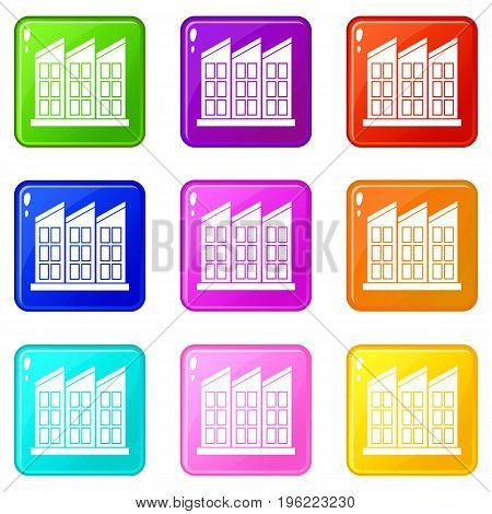 Building icons of 9 color set isolated vector illustration