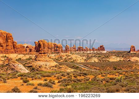 View of Garden of Eden and the Windows at Arches National Park in Utah.