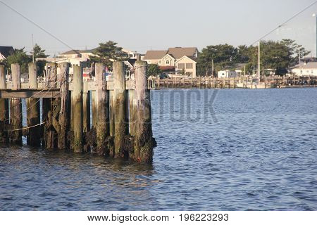 Docks of Brigantine, New Jersey at low tide