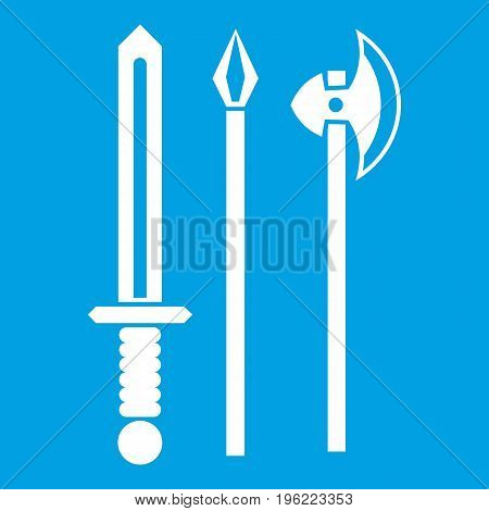 Ancient weapon sword, pick and axe icon white isolated on blue background vector illustration