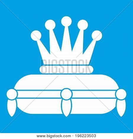 Crown king icon white isolated on blue background vector illustration