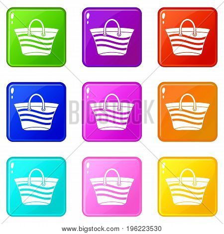 Women beach bag icons of 9 color set isolated vector illustration