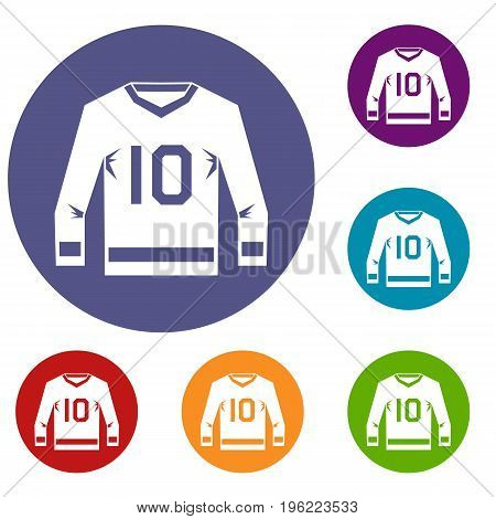 Hockey jersey icons set in flat circle red, blue and green color for web