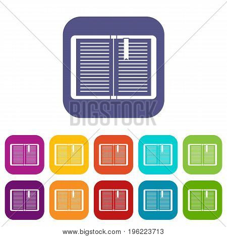 Open tutorial with bookmark icons set vector illustration in flat style in colors red, blue, green, and other