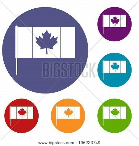 Canada flag with flagpole icons set in flat circle red, blue and green color for web