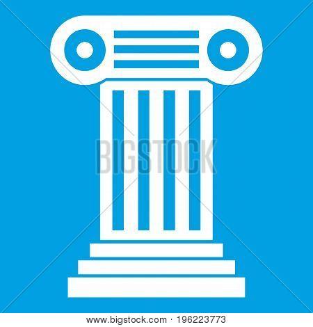 Roman column icon white isolated on blue background vector illustration