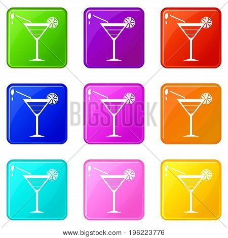 Beach cocktail icons of 9 color set isolated vector illustration