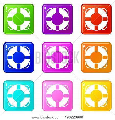 Lifeline icons of 9 color set isolated vector illustration