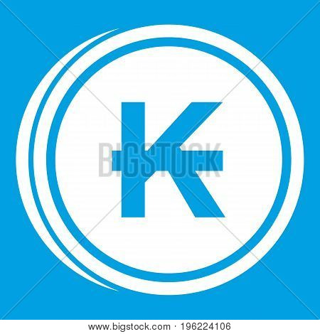 Coins lao kip icon white isolated on blue background vector illustration