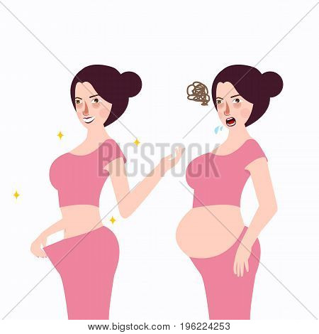 woman slim loss weight after pregnant stressed unhappy during upset depression maternity vector