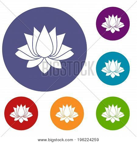 Lotus icons set in flat circle red, blue and green color for web