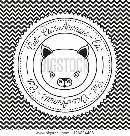 monochrome irregular lines background with silhouette frame decorative and face cat cute animals text vector illustration