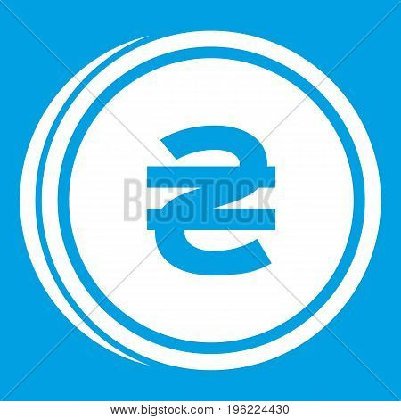 Coin hryvnia icon white isolated on blue background vector illustration