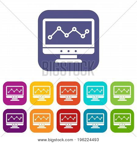 Graph in computer screen icons set vector illustration in flat style in colors red, blue, green, and other