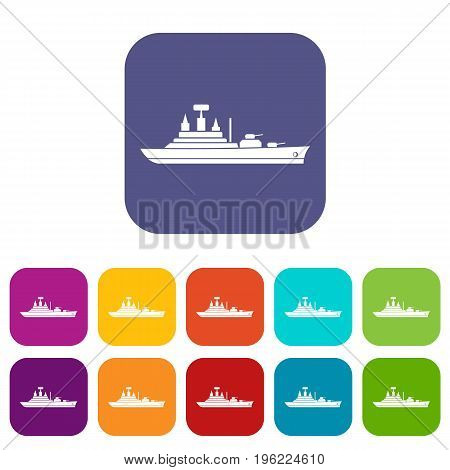 Warship icons set vector illustration in flat style in colors red, blue, green, and other