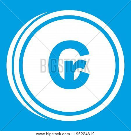 Coins cruzeiro icon white isolated on blue background vector illustration