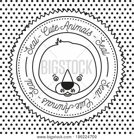monochrome dotted background with silhouette frame decorative and face seal cute animals text vector illustration