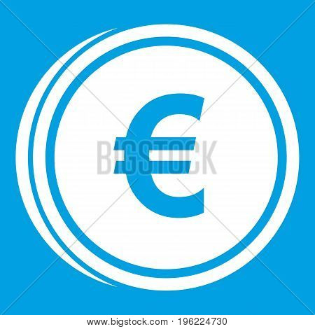 Euro coins icon white isolated on blue background vector illustration