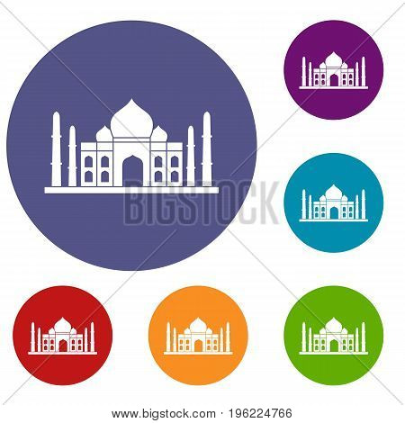 Taj mahal icons set in flat circle red, blue and green color for web