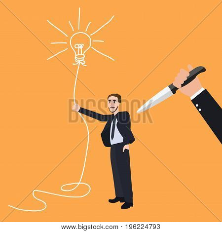 kill idea creative innovation stab back betrayal conflict innovation vector