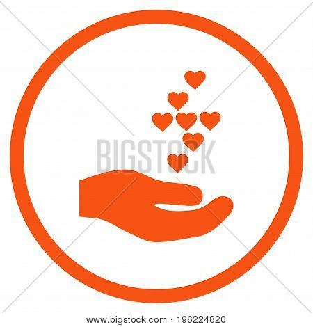 Love Hearts Offer Hand rounded icon. Vector illustration style is flat iconic symbol inside circle, orange color, white background.