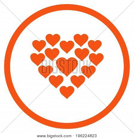 Love Hearts Shape rounded icon. Vector illustration style is flat iconic symbol inside circle, orange color, white background.