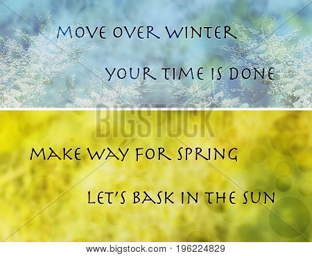 Seasonal change from winter to spring banner with words move over winter make way for spring in text