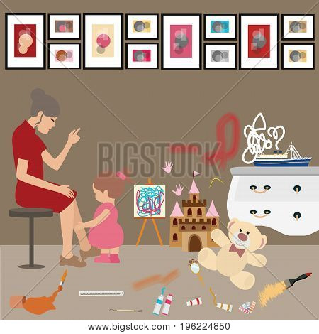 messy untidy home kids children paint all over wall mom woman looks frustrated stress vector