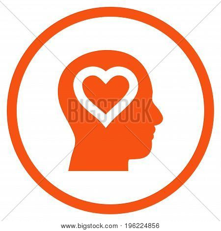 Love In Head rounded icon. Vector illustration style is flat iconic symbol inside circle, orange color, white background.