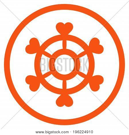 Lovely Boat Steering Wheel rounded icon. Vector illustration style is flat iconic symbol inside circle, orange color, white background.