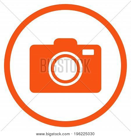 Photo Camera rounded icon. Vector illustration style is flat iconic symbol inside circle, orange color, white background.