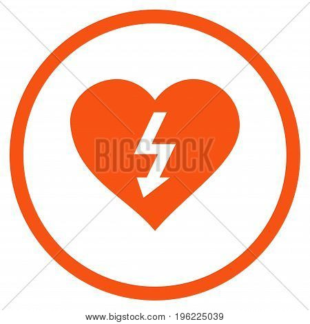 Power Love Heart rounded icon. Vector illustration style is flat iconic symbol inside circle, orange color, white background.